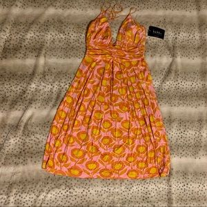 NWT Summer Skinny Strap Tie Halter FLORAL Dress
